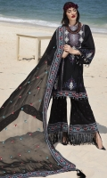 Three Piece, Balochi & Sindhi Fusion Art Embroidered Lawn Shirt With Hand Embelished Neckline Coupled With Four Sided Embroidered Crinkle Chiffon Dupatta & Cambric Embroidered Trouser