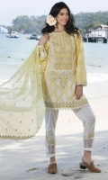 Three Piece, Chikan Embroidered Lawn Shirt With Embroidered Accessories Coupled With Embroidered Crinkle Chiffon Dupatta & Dyed Cambric Trouser With Embroidered Patch