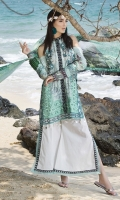 Three Piece, Digital Printed & Embroidered Lawn Shirt With Hand Embelished 3D Flowers Coupled With Digital Printed Crinkle Chiffon Dupatta & Dyed CambricTrouser