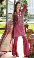Three Piece, Chikan Embroidered Lawn Shirt With Embroidered Neckline & Digital Printed Accessories Coupled With Digital Printed Mughal Miniature Crinkle Chiffon Dupatta & Dyed Cambric Trouser