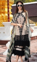 Three Piece, Embroidered Lace Lawn Shirt With Embroidered Cut Work Border Coupled With Digital Printed Splash Of Colors Crinkle Chiffon Dupatta & Dyed Cambric Trouser