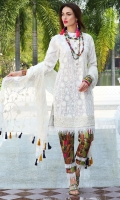 Three Piece, Classic Kashmiri Embroidered Lawn Shirt Coupled With Embroidered Crinkle Chiffon Dupatta & Digital Printed Cambric Trouser Including An Extra Dyed Cambric Trouser