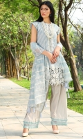 Three Piece, Chikan Embroidered Lawn Shirt With Embroidered Hand Embellished Neckline With Embroidered Border Of Hand Embellished 3D Flowers Coupled With Embroidered Crinkle Chiffon Dupatta & Dyed Cambric Trouser