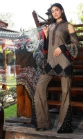 Three Piece, Victorian Abstract Embroidered Lawn Shirt With Hand Embelished Neckline Including Embroidered Crinkle Chiffon Sleeves Coupled With Digital Printed Crinkle Chiffon Dupatta & Cambric Dyed Trouser