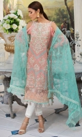 Embroidered Lawn Front 1 M Lawn Back 1 M Embroidered Patch A For Daman Front & Back 2 M Embroidered Neckline Patch 1 Pc Embroidered Sleeves 0.67 M Embroidered Net Dupatta 2.5 M Dyed Cotton Trouser 2.5 M