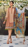 Embroidered Lawn Center Panel & Side Panel Front 1 M Dyed Lawn Back 1 M Embroidered Patch A For Daman Front & Back 2 M Embroidered Lawn Sleeves 0.67 M Printed Tissue Silk Dupatta 2.5 M Dyed Cotton Trouser 2.5 M