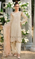 Embroidered Schiffli Lawn Front 1 M Embroidered Lawn Back 1 M Embroidered Patch A For Daman Front & Back 2 M Embroidered Neckline Hand Embellished Patch 1 Pc Embroidered Lawn Sleeves 0.67 M Embroidered Crinkle Chiffon Dupatta 2.5 M Dyed Cotton Trouser 2.5 M
