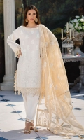 Embroidered Lawn Front 1 M Dyed Lawn Back 1 M Embroidered Patch For Front & Back 2 M Neckline Hand Embellished Patch 1 Pc Embroidered Lawn Sleeves 0.67 M Sleeves Embroidered Patch 1 M Embroidered Zari Net Dupatta 2.5 M Dyed Cotton Trouser 2.5 M