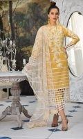 Embroidered Lawn Front 1 M Dyed Lawn Back 1 M Embroidered Patch A For Daman Front & Back 2 M Embroidered Lawn Sleeves 0.67 M Sleeves Embroidered Patch 1 M Embroidered Net Dupatta With Palu Patch 2.5 M Dyed Cotton Trouser 2.5 M Trouser Embroidered Patch 1 M
