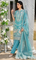 Embroidered Lawn Front 1 M Dyed Lawn Back 1 M Embroidered Patch A For Daman Front & Back 2 M Embroidered Lawn Sleeves 0.67 M Embroidered Fancy Organza Dupatta With Palu Patch 2.5 M Dyed Cotton Trouser 2.5 M