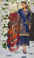 Embroidered Lawn Front 1 M Embroidered Lawn Back 1 M Embroidered Patch A For Daman Front & Back 2 M Embroidered Lawn Sleeves 0.67 M Printed Tissue Silk Dupatta 2.5 M Embroidered Cotton Trouser 2.5 M