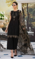 Embroidered Lawn Front 1 M Dyed Lawn Back 1 M Embroidered Patch A For Daman Front & Back 2 M Embroidered Neckline Patch 1 Pc Embroidered Lawn Sleeves 0.67 M Printed Crinkle Chiffon Dupatta 2.5 M Embroidered Dyed Cotton Trouser 2.5 M