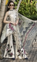 Three Piece, Shirt Fabric: Embroidered Lawn, Includes: Front, Back, Sleeves, Embroidered Bemberg Crinkle Chiffon Dupatta, Dyed Cotton Trouser.
