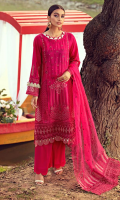 Schiffli Embroidered Lawn Front 1.20 M Dyed Lawn Back 1.14 M Embroidered Patch For Front Daman 0.94 M Schiffli Embroidered Lawn Sleeves 0.67 M Embroidered Sleeves Patch 1.10 M Embroidered Organza Dupatta with 2 Side Pallu Patch 2.50 M Dyed Cotton Trouser 2.50 M