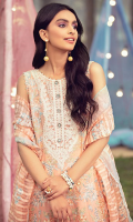 Embroidered Lawn Front 1.20 M Dyed Lawn Back 1.14 M Neckline Embroidered Patch 1 Pc Embroidered Patch For Front & Back Daman 1.84 M Dyed Lawn Sleeves 0.67 M Embroidered Sleeves Patch 1.00 M Embroidered Banarsi Organza Dupatta 2.50 M Dyed Cotton Trouser 2.50 M