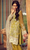 Schiffli Embroidered Lawn Front 1.20 M Dyed Lawn Back 1.14 M Embroidered Neckline Patch 1.10 M Schiffli Embroidered Patch A For Front Daman 0.94 M Schiffli Embroidered Patch B For Front Daman 0.94 M Schiffli Embroidered Patch For Front Left & Right 1.84 M Embroidered Crinkle Chiffon Sleeves 0.67 M Schiffli Embroidered Sleeves Patch 1.10 M Embroidered Net Dupatta With 2 Side Pallu Patch 2.50 M Dyed Cotton Trouser 2.50 M Embroidered Trouser Patch 1.00 M