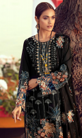 Embroidered Lawn Front 1.00 M Dyed Lawn Back 1.14 M Embroidered Neckline Patch 1 Pc Embroidered Kawia Patch A For Front Daman 1.00 M Embroidered Patch B For Front Daman 1.00 M Dyed Lawn Sleeves 0.67 M Embroidered Sleeves Patch A 1.15 M Embroidered Sleeves Patch B 1.15 M Embroidered Crinkle Chiffon Dupatta 2.50 M Embroidered Dupatta Kawia Patch 2 Side Pallu Patch 1.32 M Dyed Cotton Trouser 2.50 M
