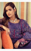 Schiffli Embroidered Lawn Front 1.10 M Dyed Lawn Back 1.14 M Embroidered Front Yoke 0.67 M Embroidered Patch For Front Daman 0.94 M Embroidered Crinkle Chiffon Sleeves 0.67 M Embroidered Sleeves Patch 1.10 M Embroidered Crinkle Chiffon Dupatta 2.50 M Dyed Cotton Trouser 2.50 M