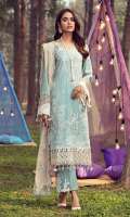 Schiffli Embroidered Lawn Front 1.20 M Dyed Lawn Back 1.14 M Dyed Neckline Patch 0.5 M Schiffli Embroidered Patch For Front Daman 0.92 M Schiffli Embroidered Lawn Sleeves 0.67 M Embroidered Sleeves Patch 1.00 M Embroidered Crinkle Chiffon Dupatta With Pallu Patch 2.50 M Dyed Cotton Trouser 2.50 M Embroidered Trouser Patch 2 Pc