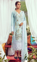 Schiffli Embroidered Lawn Front 1.00 M Dyed Lawn Back 1.14 M Embroidered Neckline Patch 1 Pc Embroidered Patch For Front Left & Right 3.08 M Embroidered Patch For Front Daman 0.92 M Dyed Lawn Sleeves 0.67 M Schiffli Embroidered Sleeves Patch 1.00 M Embroidered Crinkle Chiffon Dupatta 2.50 M Dyed Cotton Trouser 2.50 M Embroidered Trouser Patch 2 Pcs