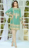 Stitched One Piece, Shirt Fabric: Embroidered Cotton Net, Includes: Front, Back, Sleeves.