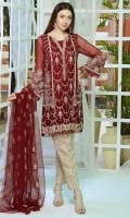 Stitched Two Piece, Shirt Fabric: Embroidered Crinkle Chiffon, Includes: Front, Back, Sleeves, Embroidered Silk Net Dupatta.