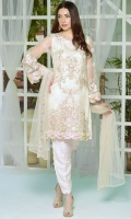 Stitched Two Piece, Shirt Fabric: Embroidered Silk Net, Includes: Front, Back, Sleeves, Embroidered Silk Net Dupatta.