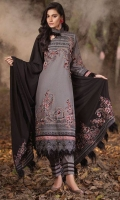Embroidered Khaddar Front 1 M Dyed Khaddar Back 1 M Embroidered Patch For Front & Back 2 M Embroidered Khaddar Sleeves 0.67 M Embroidered Cotel Shawl 2.5 M Dyed Khaddar Trouser 2.5 M