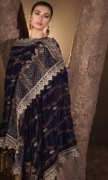 Embroidered Silk Front 1 M Dyed Silk Back 1 M Embroidered Patch A For Front & Back 2 M Embroidered Patch B For Front & Back 2 M Neckline Embroidered Patch 1 Pc Embroidered Silk Sleeves 0.67 M Embroidered Velvet Shawl & Velvet Palu Patch 2.5 M Dyed Silk Trouser 2.5 M