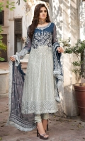 Embroidered Hand Embellished Pure Crinkle Chiffon Front 1 M Dyed Pure Crinkle Chiffon Back 1 M Embroidered Hand Embellished Patch For Front 1 Pc Neckline Embroidered Hand Embellished Patch 1 Pc Embroidered Patch A For Daman Front & Back 2 M Embroidered Patch B For Daman Front & Back 2 M Embroidered Organza Sleeves 0.67 M Sleeves Embroidered Patch 1 M Embroidered Pure Crinkle Chiffon Dupatta With Embroidered 4 Side Patch 2.5 M Dyed Silk Trouser 2.5 M Dyed Shirt Lining 2.35 M