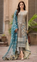 Embroidered Pure Crinkle Chiffon Front 1 M Embroidered Pure Crinkle Chiffon Back 1 M Neckline Embroidered Hand Embellished Patch 1 Pc Embroidered Patch A For Daman Front 1 M Embroidered Patch B For Daman Front 1 M Embroidered Patch C For Daman Front 1 M Embroidered Patch D For Daman Back 1 M Embroidered Pure Crinkle Chiffon Sleeves 0.67 M Sleeves Embroidered Patch 1 M Embroidered Organza Dupatta With Fancy Organza Embroidered Pallu 2.5 M Dyed Silk Trouser 2.5 M Dyed Shirt Lining 2.35 M