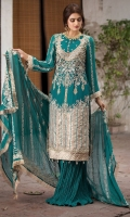 Embroidered Pure Crinkle Chiffon Front 1 M Embroidered Pure Crinkle Chiffon Back 1 M Neckline Embroidered Hand Embellished Patch 1 Pc Embroidered Hand Embellished Patch For Front 1 M Embroidered Patch For Daman Front & Back 2 M Embroidered Pure Crinkle Chiffon Sleeves 0.67 M Sleeves Embroidered Patch 1 M Embroidered Pure Crinkle Chiffon Dupatta 2.5 M Dyed Silk Trouser 2.5 M Dyed Shirt Lining 2.35 M