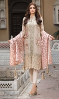 Embroidered Hand Embellished Messori Front 1 M Dyed Messori Back 1 M Embroidered Patch A For Daman Front & Back 2 M Embroidered Patch B For Daman Front & Back 2 M Embroidered Patch C For Daman Front 1 M Embroidered Messori Sleeves 0.67 M Sleeves Embroidered Patch A 1 M Sleeves Embroidered Patch B 1 M Fancy Organza Dupatta 2.5 M Dyed Silk Trouser 2.5 M Dyed Shirt Lining 2.35 M
