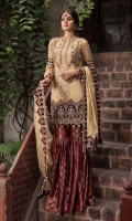 Embroidered Hand Embellished Messori Front 1 M Messori Back 1 M Embroidered Hand Embellished Patch A For Daman Front 1 M Embroidered Patch B For Daman Back 1 M Embroidered Messori Sleeves 0.67 M Sleeves Embroidered Patch A 1 M Sleeves Embroidered Patch B 1 M Embroidered Messori Dupatta With Embroidered 4 Side Patch 2.5 M Dyed Jamawar Trouser 2.5 M Dyed Shirt Lining 2.35 M Dyed Shirt Lining 2.35 M