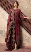 Embroidered Hand Embellished Pure Crinkle Chiffon Front 1 M Dyed Pure Crinkle Chiffon Back 1 M Neckline Embroidered Patch 2 Pc Embroidered Patch For Daman Front & Back 2 M Embroidered Pure Crinkle Chiffon Sleeves 0.67 M Sleeves Embroidered Patch 1 M Embroidered Pure Crinkle Chiffon Dupatta 2.5 M Dyed Silk Trouser 2.5 M Dyed Shirt Lining 2.35 M