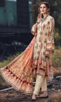 Digital Printed Embroidered Linen Front 1 M Digital Printed Linen Back 1 M Digital Printed Linen Sleeves 0.67 M Digital Printed Linen Dupatta 2.5 M Dyed Linen Trouser 2.5 M