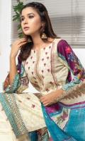 Airjet Digital Printed and Embroidered Fine Lawn Shirt Printed Chikenkari Embroidered Cutwork Chiffon Dupatta Plain Dyed Trouser