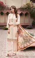 Lawn Embroidered Shirt  Organza Embroidered Front Border  Organza Embroidered Sleeves Border  Digital Printed Chiffon Dupatta  Dyed Trouser