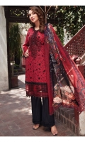 Lawn Embroidered Shirt  Organza Embroidered Front Border  Organza Embroidered Neckline  Organza Embroidered Sleeves Border  Digital Printed Chiffon Dupatta  Dyed Trouser