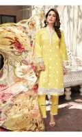 Lawn Embroidered Shirt  Organza Embroidered Neck Patti  Organza Embroidered Front Borders  Organza Embroidered Sleeves Border  Digital Printed Chiffon Dupatta  Dyed Trouser