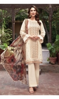 Lawn Embroidered Front Patti  Lawn Embroidered Shirt  Lawn Embroidered Sleeves Patti  Digital Printed Chiffon Dupatta  Dyed Trouser