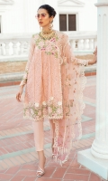 - Chikan embroidered and pani embellished lawn for front and back - Embroidered and hand embellished neckline - Dyed sleeves - Chikan embroidered border for front and back - Lace for finishing - Embroidered 3 D flowers - Cross stitch embroidered net dupata with chikan borders - Pearls for finishing - Cotton trousers
