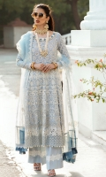 - Chikan embroidered and pearl embellished lawn front - Chikan embroidered lawn for back and side panels - Hand embellished neckline - Chikan embroidered sleeves - Embroidered and pearl embellished front yoke - Embroidered back yoke - Chikan embroidered border 1 for front and back - Chikan embroidered border 2 for front and back - Embroidered organza dupata with chatta Patti borders - Embroidered trouser lace - Cotton trousers