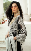 - Pani embroidered and pearl embellished cotton net for front yoke - Pani embroidered and pearl embellished cotton net front - Pani embroidered cotton net sleeves - Pani embroidered back motif - Dyed cotton net for back - Pani embroidered lace for front and back slits and hem finishing - Embroidered lace 1 for back - Embroidered lace 2 for back - Embroidered lace 3 for back - Cotton silk slip - Cotton trousers - Chata patti embroidered net and organza dupatta - Tassle for back - Pearls for finishings