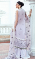 - Chikan embroidered and pearl embellished lawn for front - Chikan embroidered lawn for back - Embroidered lawn for sleeves - Embellished neckline motif with 3D flowers and fur - Chikan embroidered border for front and back with pearl embellishments - Embroidered floral lace - Embroidered white lace for finishing - Embroidered net dupata with chikan embroidered borders - 3D flowers - Pearls for finishing - Cotton trousers