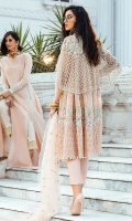 - Chikan embroidered cotton net for front and back - Embroidered floral border for shirt - Chikan embroidered shirt border - Heavily embroidered and hand embellished dupatta palu(which can be used as a cape) - Embroidered and pearl embellished pati for finishing - Cotton silk slip - Cotton trousers - Embroidered net dupatta - Crystals for finishing