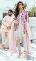 - Chikan Embroidered cotton net front and back - Heavily embroidered and hand embellished front - Embroidered and embellished sleeves - Pani embroidered pati for neckline - Pani embroidered border for front and back hemline - Embroidered border for front - Cotton silk slip - Jamawar trousers - Embroidered organza dupatta with pani border - Pearls for shirt finishing - Gold metallic balls for finishing