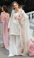 - Chikan embroidered and hand embellished cotton net front panel - Chikan embroidered back and side panels - Embroidered sleeves - Pani embroidered insert patti for sleeves front - Pani embroidered sleeves border - Hand embellished neckline - Pani embroidered lace for front and back panels - Embroidered and pearl embellished organza dupatta - Cotton trousers - Cotton silk slip - Pearls for finishing - Balls for sleeves