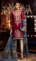 -Embroidered and hand embellished front panel on velvet (1 m) -Embroidered and hand embellished side panels on velvet (2) -Plain velvet back (1.25 m) -Embroidered velvet for sleeves (0.75 m) -Embroidered finishing lace for front and  back hem (1.5 m) -Embroidered net and organza dupatta  (2.5 m) -Jamawar trousers (2.5 m) -Blue satin silk for finishing -Kirin lace for shirt hem & sleeves (2.3 m) -Golden lappa for detailing (2.3 m)