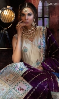 -Embroidered and hand embellished front on pure raw silk (1.25 m) -Embroidered pure raw silk for back (1.25 m) -Pure raw silk sleeves with embroidered borders (0.75 m) -Embroidered and hand appliqued velvet shawl (2.5 m) -Raw silk trousers/sharara (4 m) -Pearls for finishings